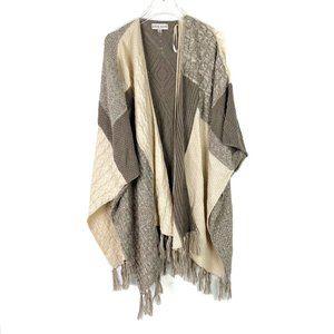 Knox Rose Fringe Patchwork Poncho Kimono Sweater Open Front XL